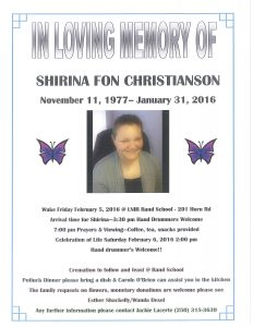 Shirina Christianson Wake @ Band School | Belmont | New Hampshire | United States