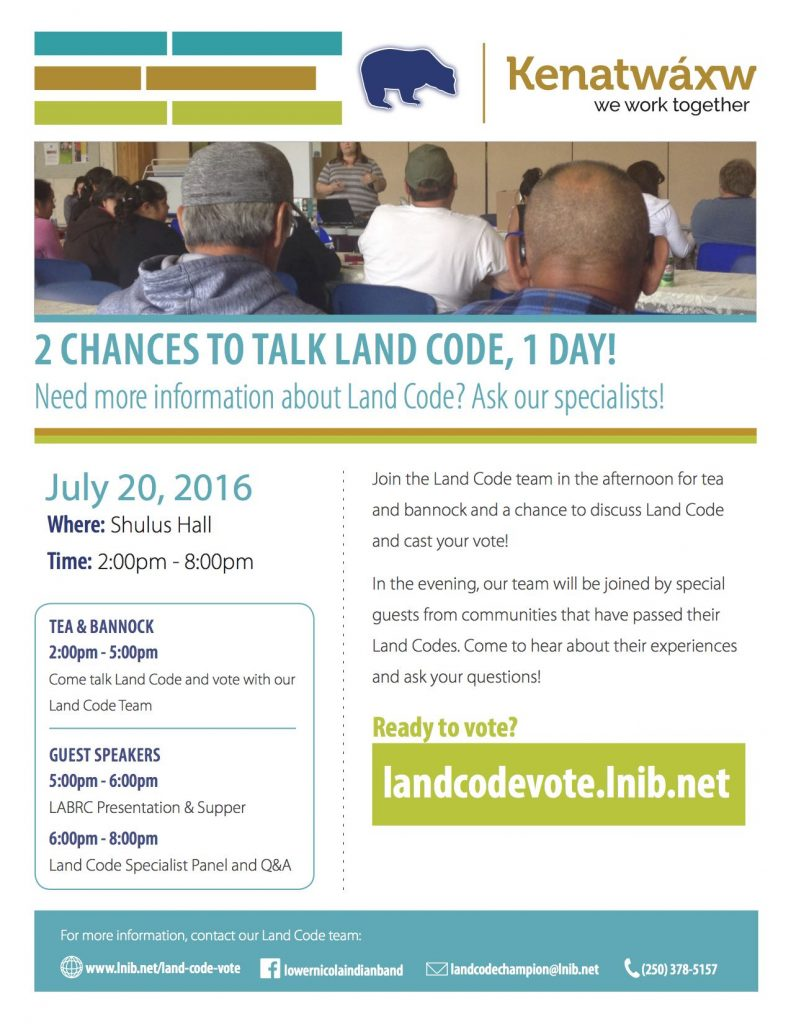 LNIB Land Code: Special Guest Speakers @ Shulus Hall